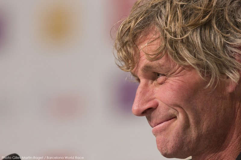 Bernard Stamm at press conference (Photo by Gilles Martin-Raget / Barcelona World Race )