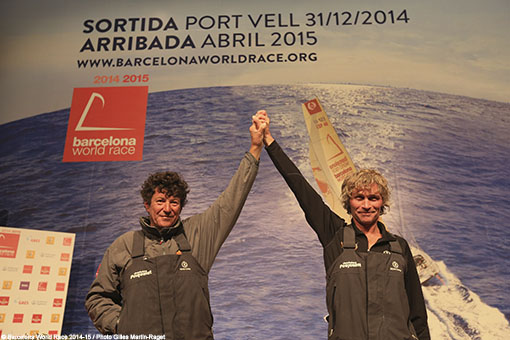 25/03/2015, Barcelona (ESP), Barcelona World Race 2014-15, Cheminées Poujoulat (Bernard Stamm/Jean Le Cam) arrival in 1st place. (Photo © Gilles Martin-Raget / Barcelona World Race )