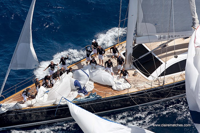 Highland Breeze, teamwork on the bow, SYC Palma 2014 (Photo © Claire Matches
