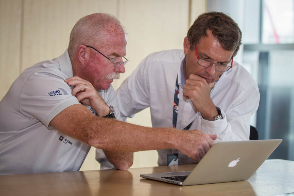 March 12, 2015. Volvo Ocean Race CEO Knut Frostad  and Race Director Jack Lloyd analyse the weather forecast situation for the start of Leg 5 from Auckland to Itajaí on Sunday March 15. (Photo  © Ainhoa Sanchez/Volvo Ocean Race)
