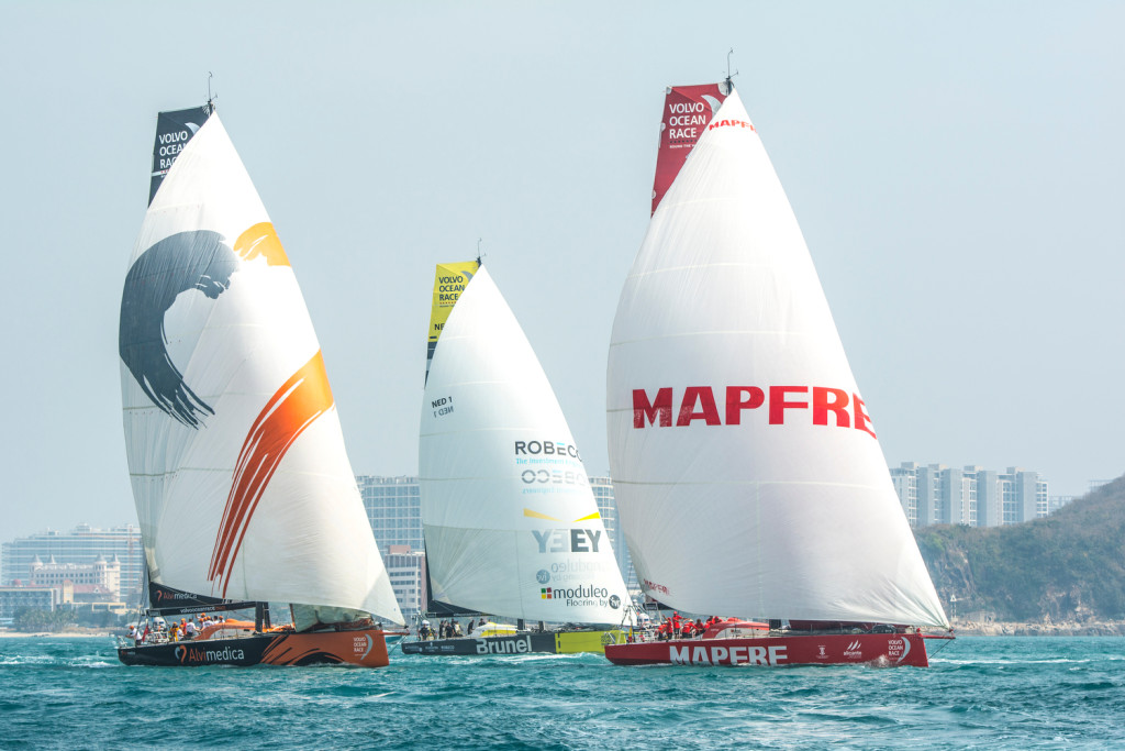 February 8, 2015. Leg 4 Start; MAPFRE, Team Alvimedica and Team Brunel  (Photo © Marc Bow/Volvo Ocean Race)