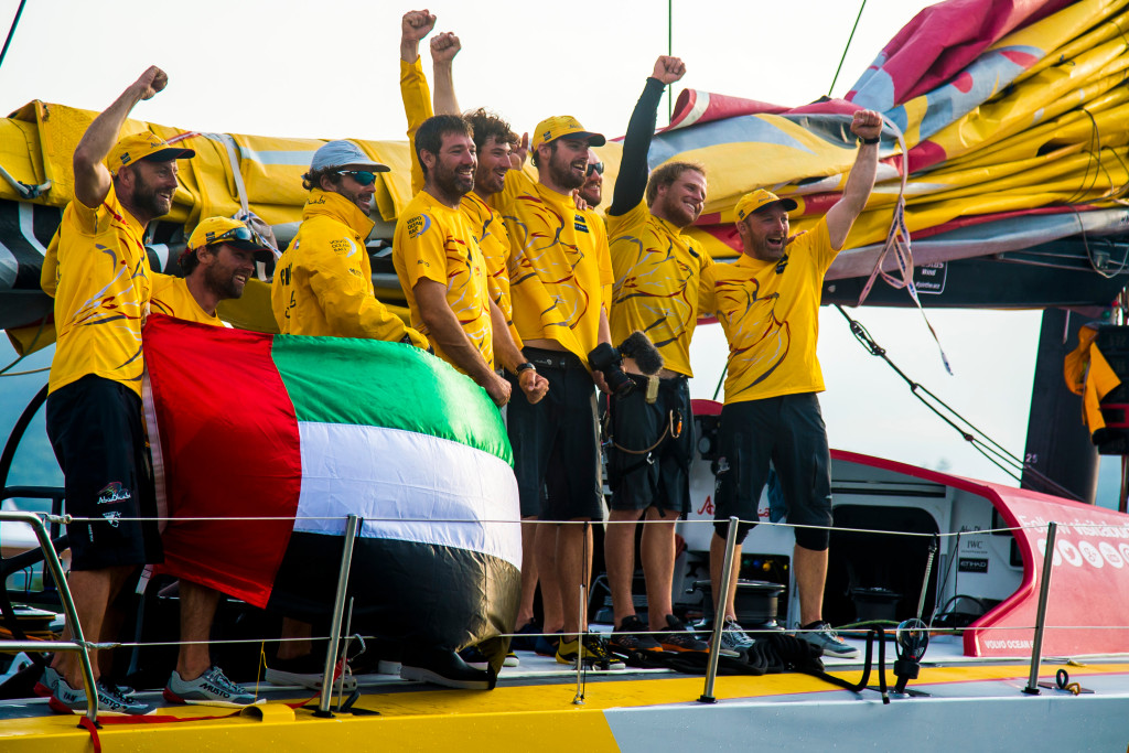 April 05, 2015. Abu Dhabi Ocean Racing, winner of Leg 5 arriving to Itajaí. (Photo by Buda Mendes / Volvo Ocean Race )
