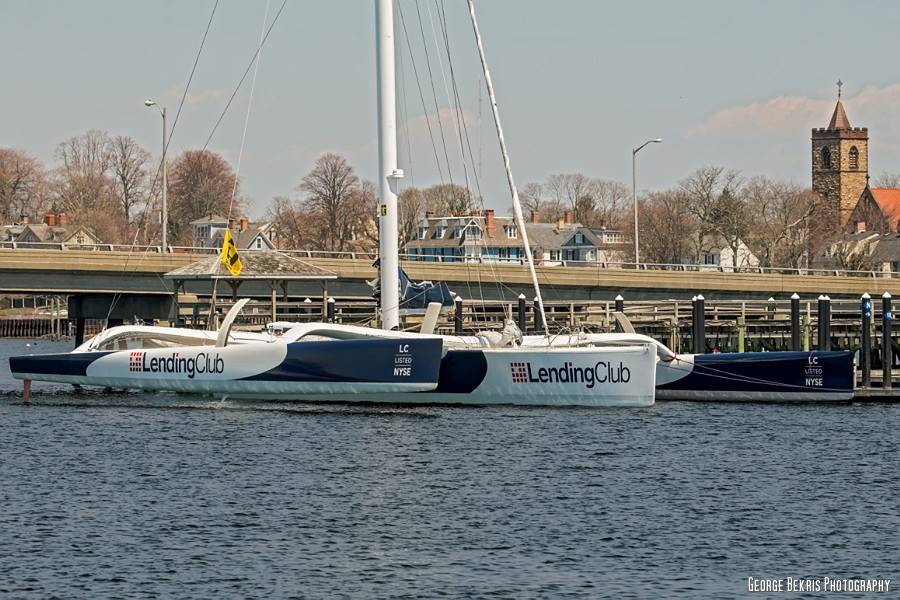 Lending Club 2 at Newport Shipyard awaiting Newport to Bermuda record attempt  (Photo by George Bekris)