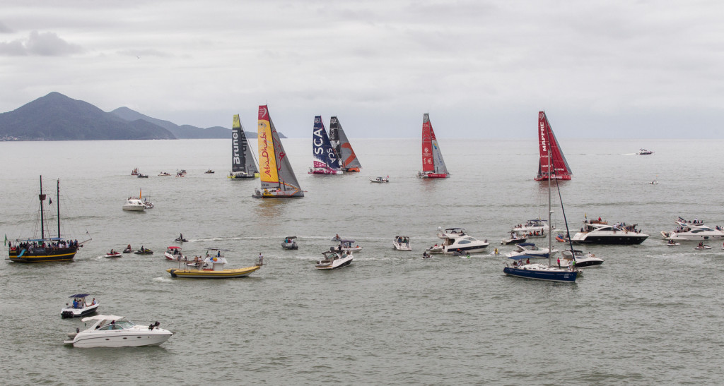 April 19, 2015. The start of Leg 6 in Itaja'; The fleet have passed the start line (Photo by Ainhoa Sanchez / Volvo Ocean Race)