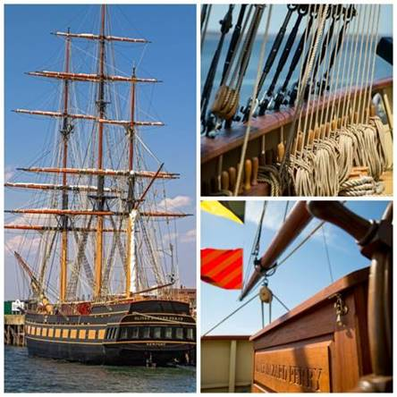 SSV Oliver Hazard Perry will arrive at Fort Adams on Saturday, May 2nd and will be open for public tours the following Saturday through Tuesday. (left: Credit George Bekris, right: credit Onne van der Wal/OHPRI)