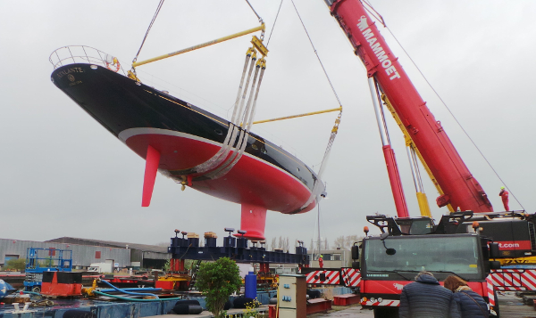 Atalante in the Slings (Photo Courtesy of Claasen Shipyards)