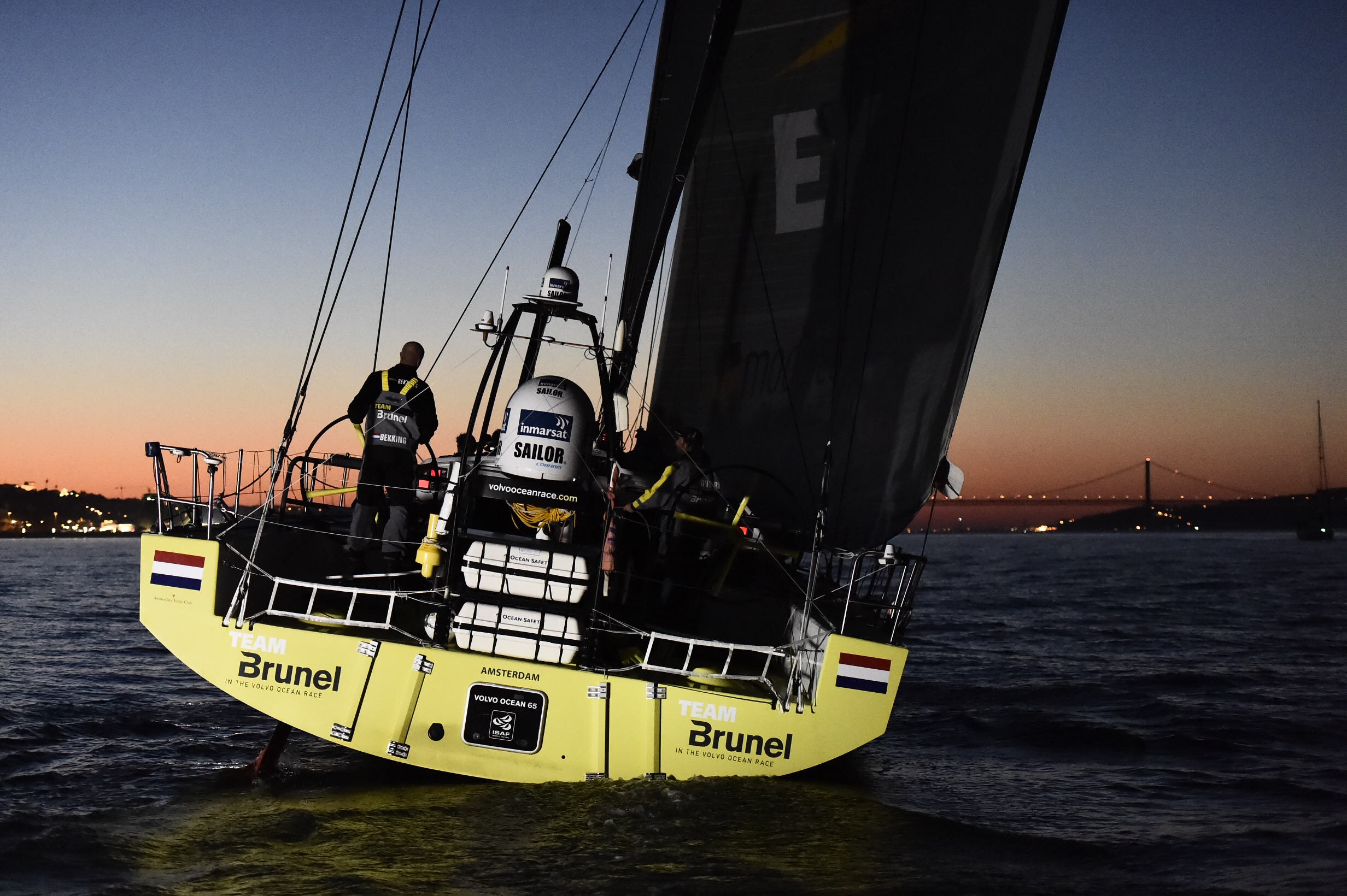 Team Brunel arrives to Lisbon in first position after Leg 7 from Newport. (Photo by Ricardo Pinto / Volvo Ocean Race)