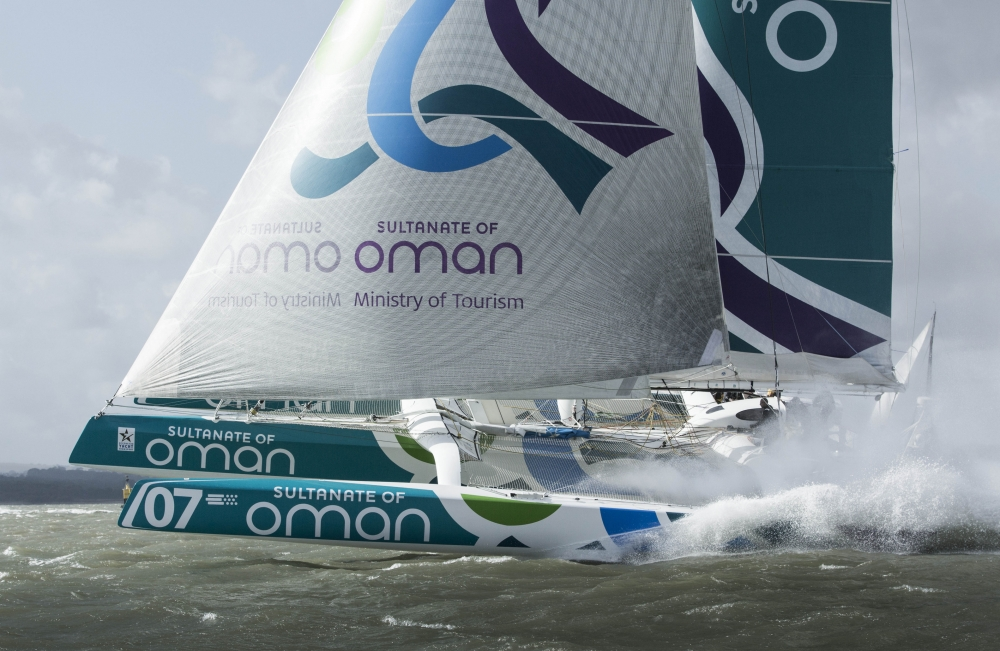 The Seven Star Round Britain and Ireland, race start.Cowes. Isle of Wight. Oman Sail MOD70 trimaran skippered by Sidney Gavignet (FRA) Please (Photo by Mark Lloyd / Lloyd Images)