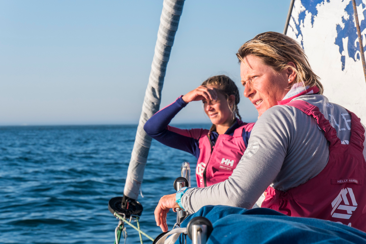 May 27, 2015. Leg 7 to Lisbon onboard Team SCA. Day 10. The team sit 8 miles out from the finish line in Lisbon with little to no wind.