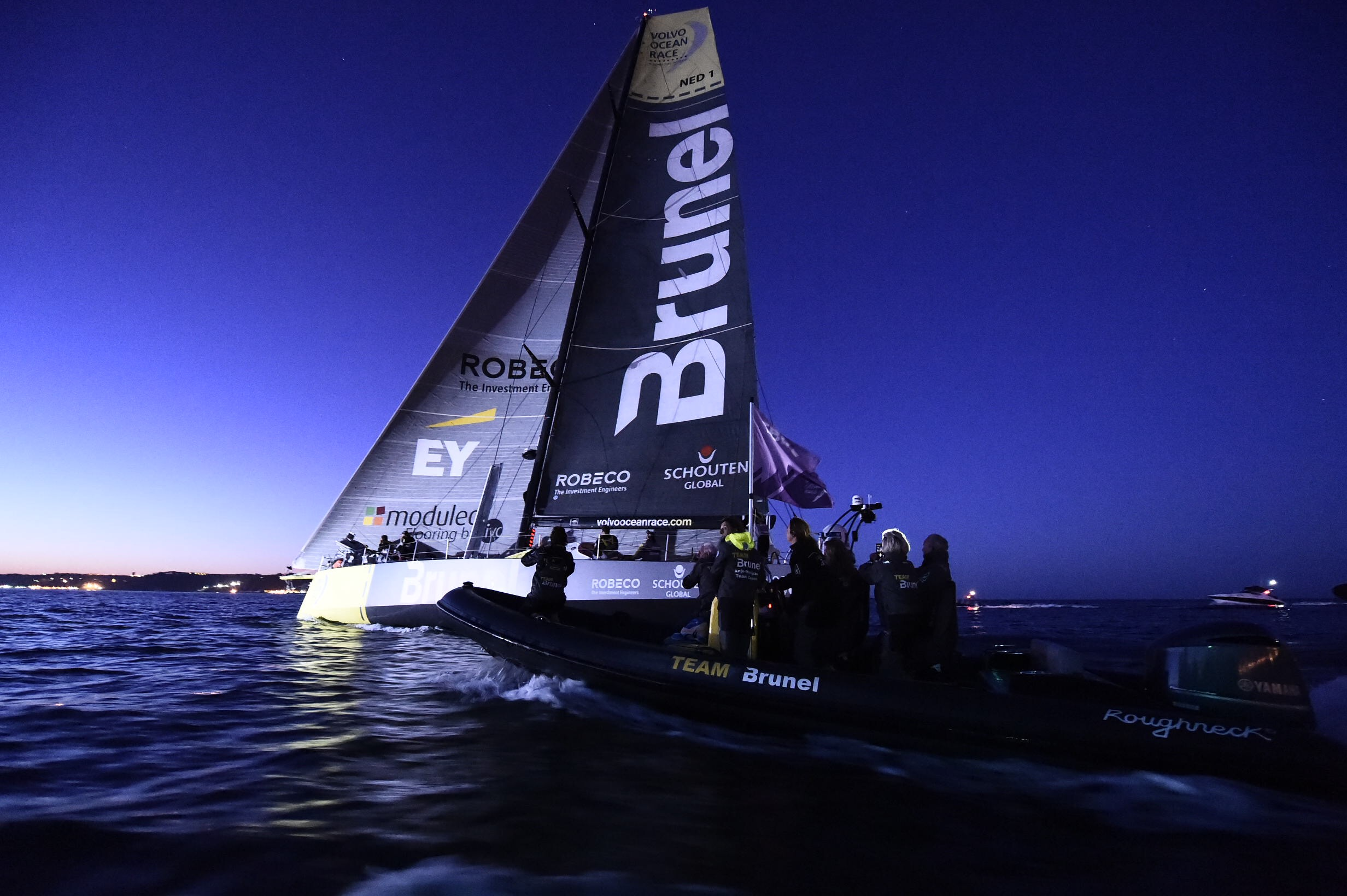 Team Brunel arrives to Lisbon in first position after Leg 7 from Newport. (Ricardo Pinto / Volvo Ocean Race)