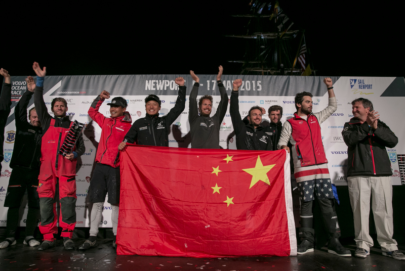 May 6, 2015. Dongfeng Race Team winners of Leg 6 arriving to Newport celebrate the victory on stage. (Photo by Billie Weiss / Volvo Ocean Race)