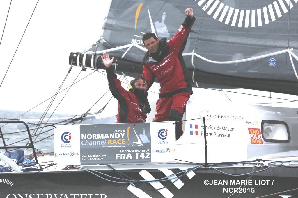 Normandy Channel Race 2015 2nd place Winners Yannick Bestaven and Pierre Brasseur (Photo by Jean-Marie Liot / NCR2015)