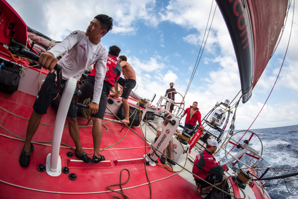 May 3, 2015. Leg 6 to Newport onboard Dongfeng Race Team. Day 14. This boat gets so damn steep (Photo by Sam Greenfield/Team Dongfeng/Volvo Ocean Race).