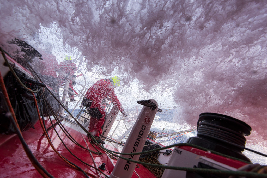 May 4, 2015. Leg 6 to Newport onboard Dongfeng Race Team. Day 15. Some waves hit harder than others.