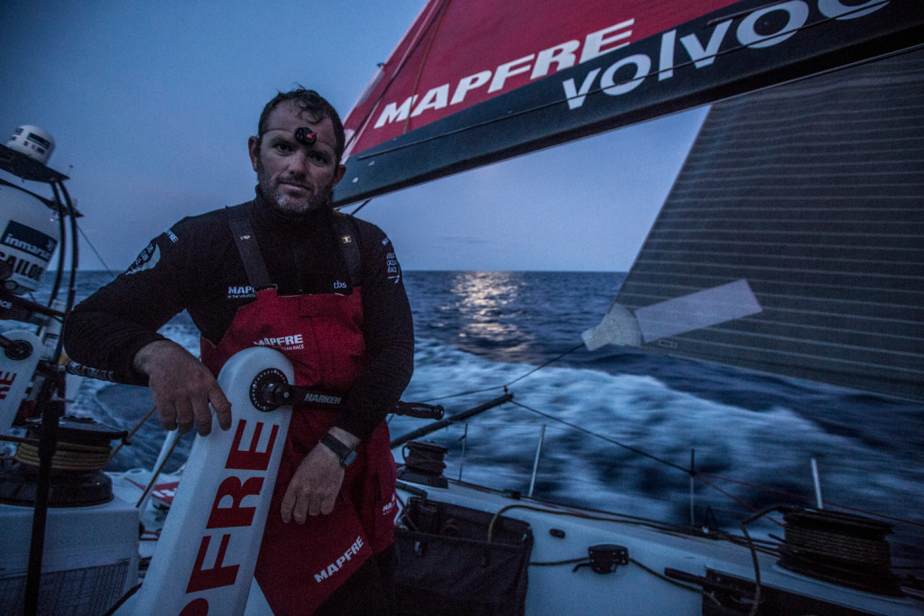 Leg 6 to Newport onboard MAPFRE. Day 15. Night watch under the moon with Rafael Trujillo (Photo by   Francisco Vignale / MAPFRE / Volvo Ocean Race)
