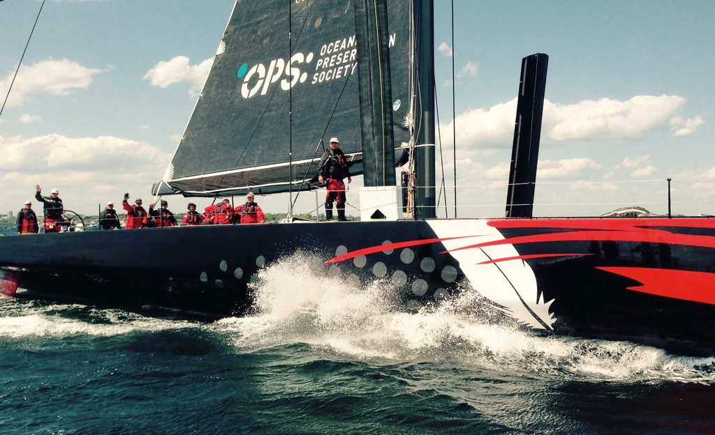 Comanche before its record-breaking run at the 70th Storm Trysail Club Block Island Race. Photo by: Randy Tankoos.