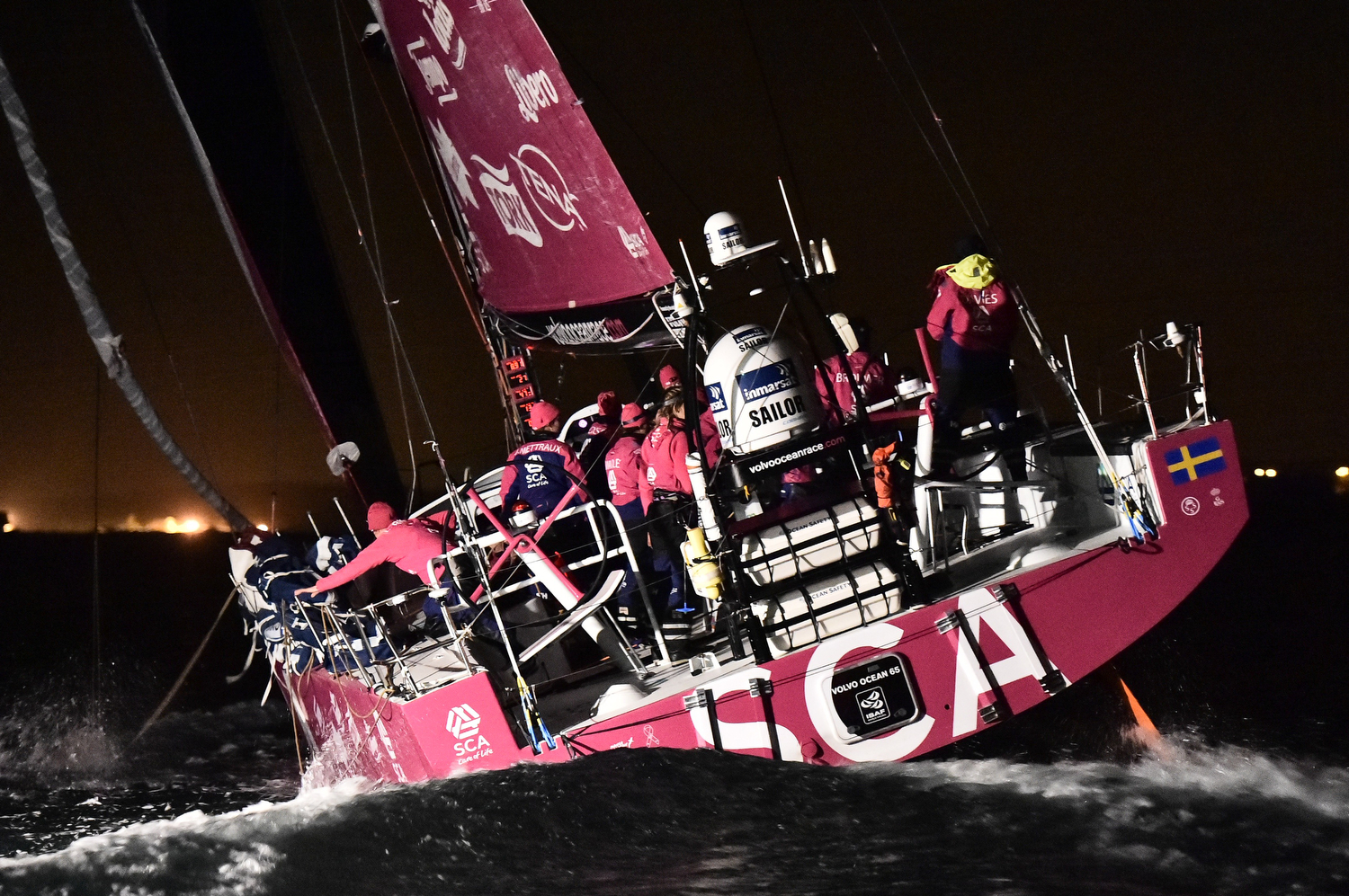 June 11, 2015. Team SCA wins Leg 8 from Lisbon to Lorient (Photo by Ricardo Pinto / Volvo Ocean Race)