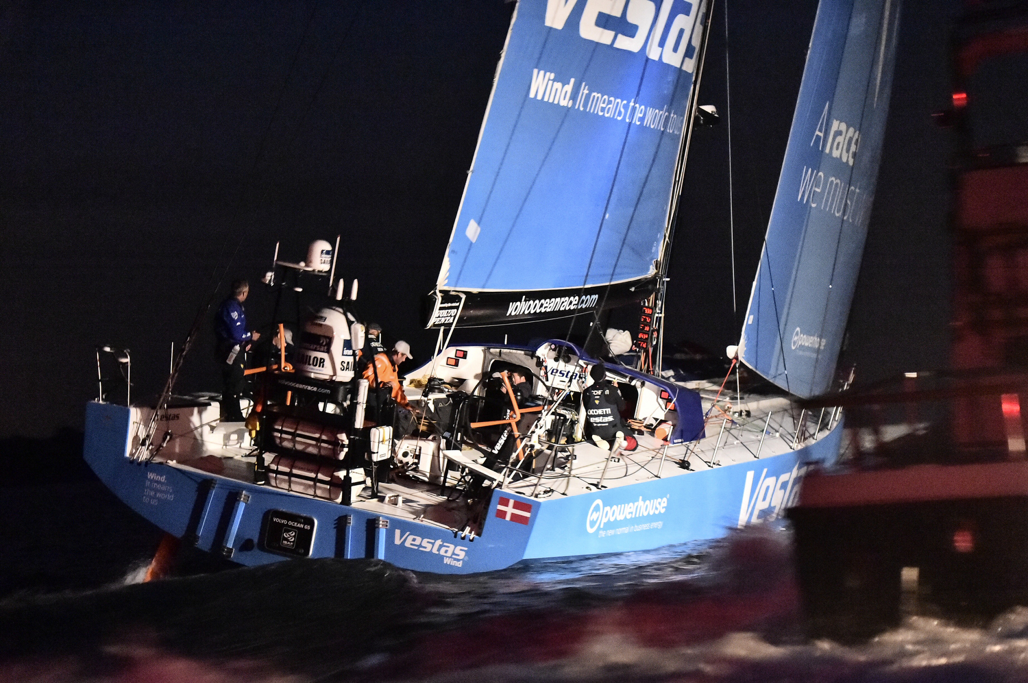 June 11, 2015. Team Vestas Wind arrives in second position for Leg 8 from Lisbon to Lorient (Photo by Ricardo Pinto / Volvo Ocean Race)