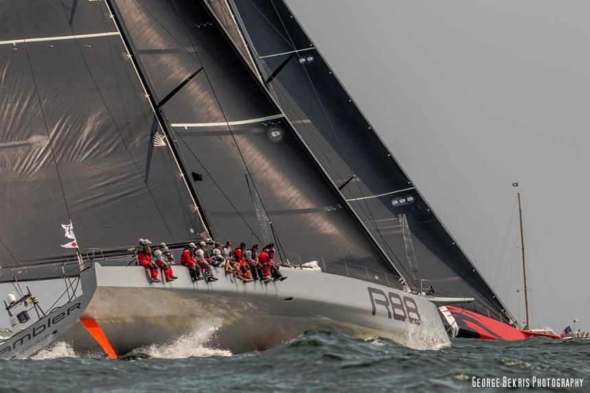 Comanche and Rambler 88 battle for position as the Transatlantic Race 2015 3rd start get underway (Photo © George Bekris)