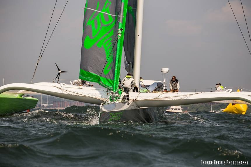 Phaedo3 doing 360 for another go at the start line (Photo © George Bekris)