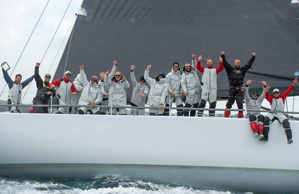 Lucky Crew Celebrates taking Line Honors (Photo by Lloyd Images)