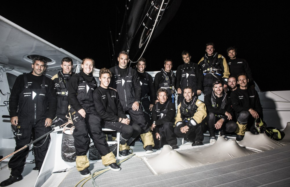 Spindrift 2 takes Line Honours at the Rolex Fastnet 2015  (photo © Mark Lloyd / Lloyu Images)