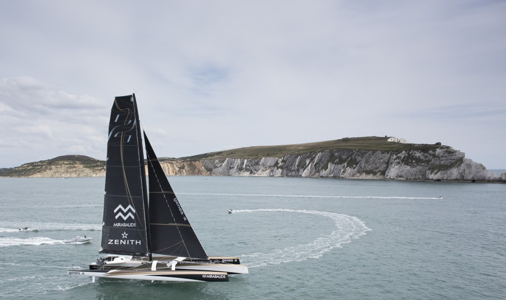 "Image licensed to Lloyd Images ""Spindrift 2"" the 100ft Maxi Trimaran skippered by Dona Bertarelli & Yann Guichard shown here at the start of the 2015 Rolex Fastnet Race. Cowes. Isle of Wight (photo by LLoyd Images)"
