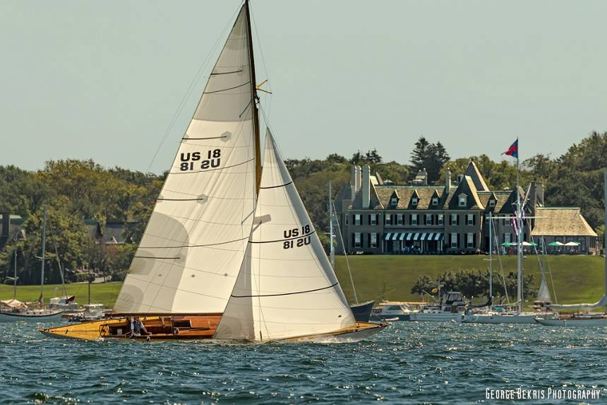 """Angelita"" passes the New York Yacht Club during the parade prior to race start. (Photo by George Bekris)"