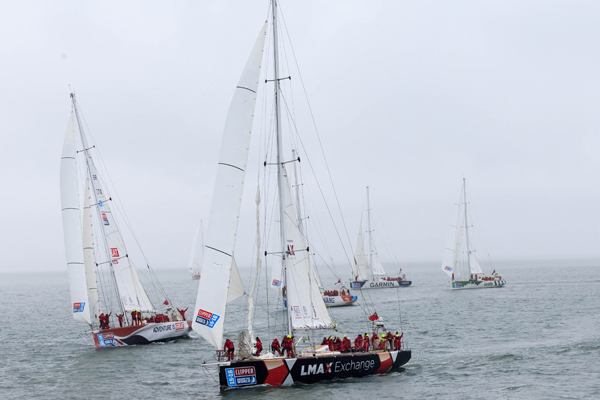 The LMAX Exchange (centre) and Great Britain yacht, (left) head off at the start of the Clipper 2015-16 Round the World Yacht Race at Southend Pier. PRESS ASSOCIATION Photo. Picture date: Monday August 31, 2015. (Photo by John Walton/PA Wire)