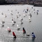 The Mini Transat îles de Guadeloupe fleet points toward the Atlantic after a stunning start