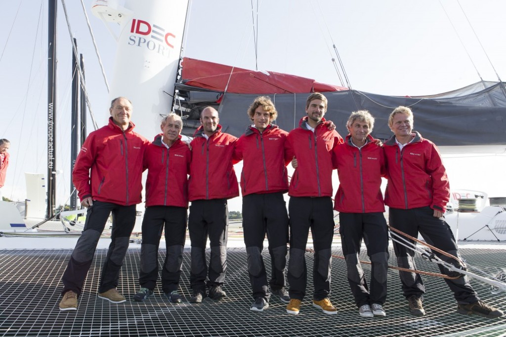 IDEC Sport Maxi Trimaran christening, prior to Their circumnavigation record Attempt, in La Trinite sur Mer, France, was october 14, 2015 - From left to right: skipper Francis Joyon, Roland Jourdain, Clement Surtel , Gwenole Gahinet Boris Herrmann, Bernard Stamm, Alex Pella (Photo by Photo Jean Marie Liot / DPPI / IDEC )