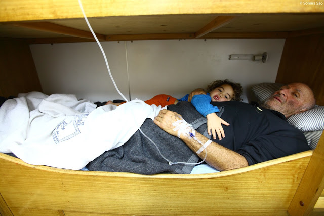 James and Ravio rest in a berth on the PSG-78 Piloto Sibbald (Photo by Somira Sao)