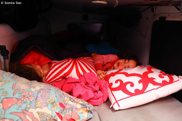 Tormentina, Ravio and Pearl in their quarter berth (Photo by Somira Sao)