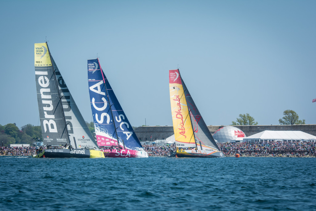 May 17, 2015. Leg 7 Start in Newport; Crowds gather to watch the teams race in port before heading out towards Lisbon. (Photo by Marc Bow / Volvo Ocean Race )
