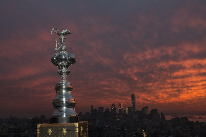 DECEMBER 07: Americas Cup Trophy in New York City. (Photo by Rob Tringali / America's Cup)