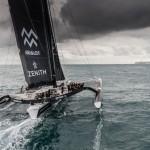 Yann Guichard, Dona Bertarelli and Spindrift 2 crew cross the line at Ushant