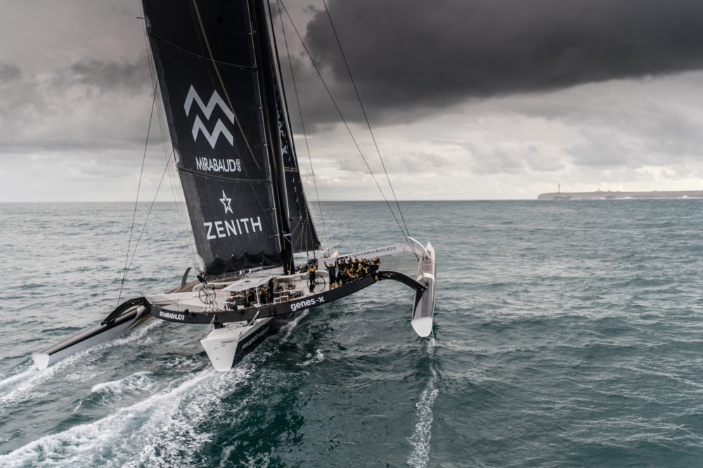 © Eloi Stichelbaut I Spindrift racing Helicopter image of Spindrift 2 crossing the finish line at Ushant.