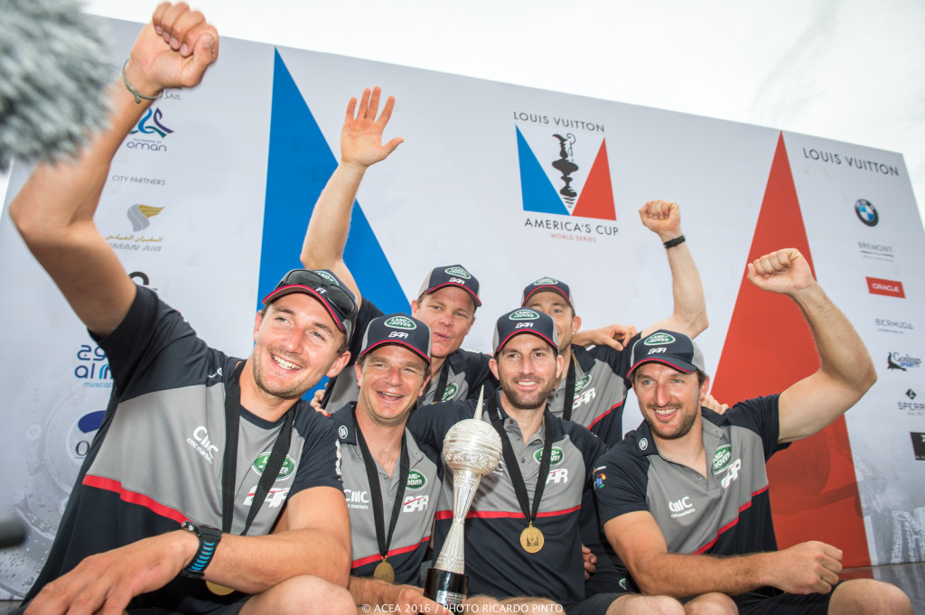28/02/16 - Muscat (OMN) - 35th America's Cup Bermuda 2017 - Louis Vuitton America's Cup World Series Oman - Racing Day 2 - Prize Giving Ceremony - Oman Series Winners Land Rover BAR (Photo © Ricardo Pinto / ACWS)
