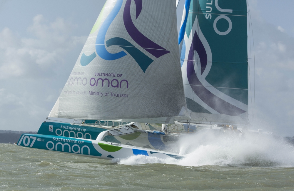 The Seven Star Round Britain and Ireland, race start.Cowes. Isle of Wight. Oman Sail MOD70 trimaran skippered by Sidney Gavignet (FRA) (Photo by Mark Lloyd/Lloyd Images)