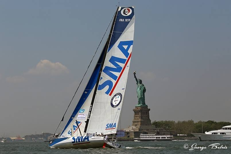 IMOCA 60 SMA, skippered by Paul Meilhat, winner of the Currency House Charity Race in New York City on May 27, 1016 (Photo © George Bekris)