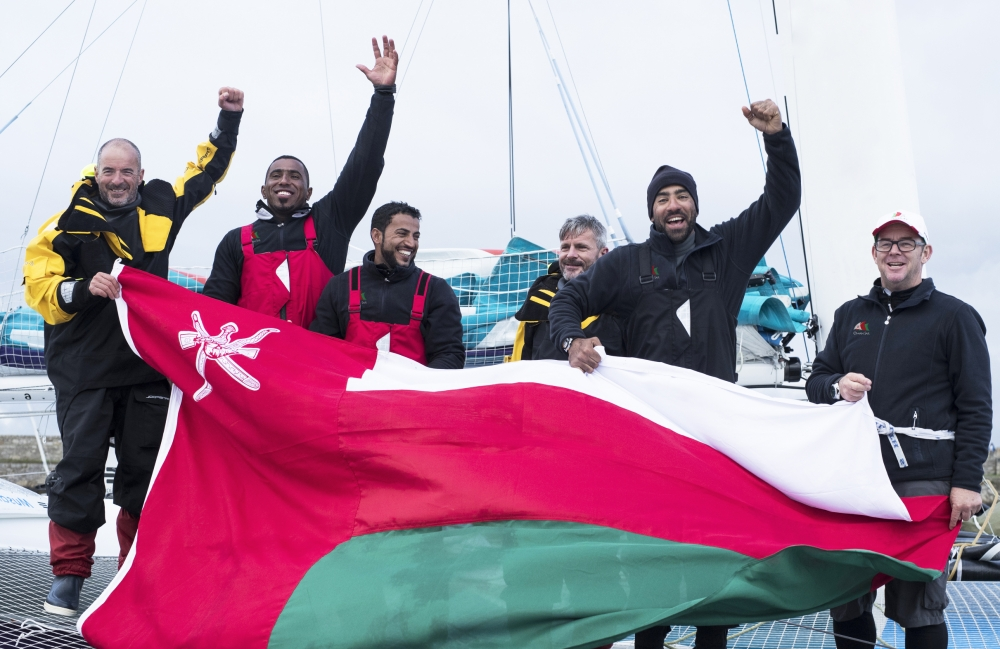 Dublin. Ireland. 20th June 2016. The Volvo Round Ireland Race . Musandam-Oman Sail set a new record for the fastest-ever sail round Ireland when the team crossed the finish line at Wicklow in 38 hours, 37 minutes and 7 seconds. Skippered by Sidney Gavignet (FRA) with team mates Damian Foxall (IRL) and Fahad Al Hasni (OMA), Jean Luc Nelias (FRA), Yasir Al Rahbi (OMA) and Sami Al Sukaili (OMA) Credit : Lloyd Images