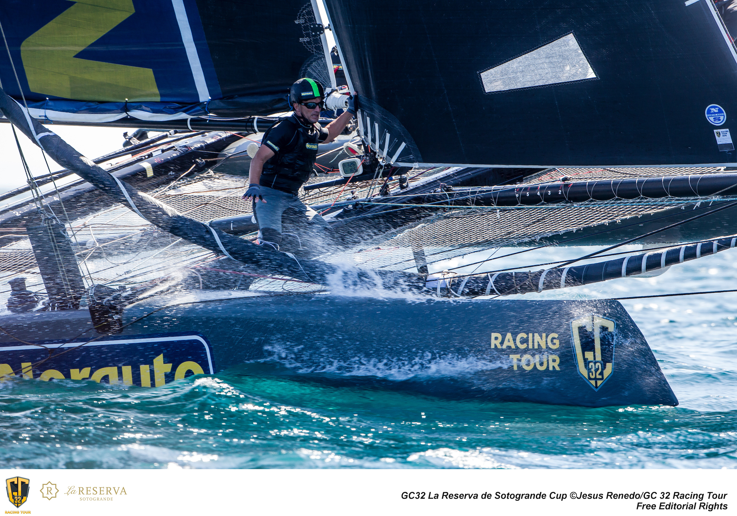 Working hard for the win on NORAUTO. Photo ©: Jesus Renedo / GC32 Racing Tour.