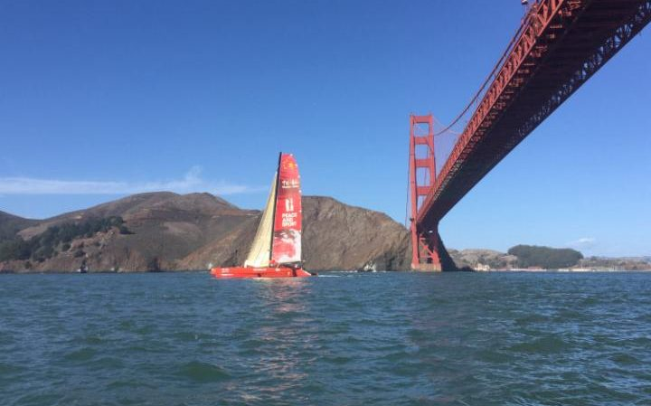 Guo Chuan sailing out of San Francisco (Photo by  XINHUA/REX/SHUTTERSTOCK )