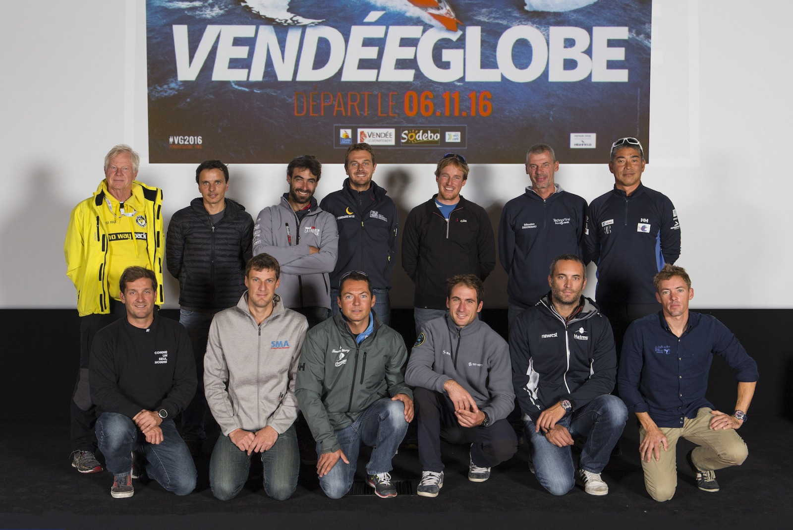 A few of the 29 skippers in the line up for the 2016 Vendee Globe (Photo by Jean-Marie Liot/DPPI/Vendee Globe)