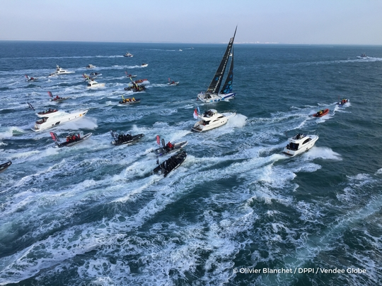 Finish arrival of Armel Le Cleac'h (FRA), skipper Banque Populaire VIII, winner of the sailing circumnavigation solo race Vendee Globe, in Les Sables d'Olonne, France, on January 19th, 2017 - Photo Olivier Blanchet / DPPI / Vendee Globe Arrivée de Armel Le Cleac'h (FRA), skipper Banque Populaire VIII, vainqueur du Vendee Globe aux Sables d'Olonne, France, le 19 Janvier 2017 - Photo Olivier Blanchet / DPPI / Vendee Globe