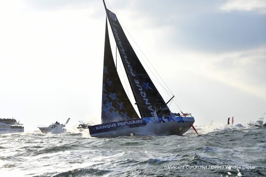 Finish arrival of Armel Le Cleac'h (FRA), skipper Banque Populaire VIII, winner of the sailing circumnavigation solo race Vendee Globe, in 74d 3h 35min 46sec, in Les Sables d'Olonne, France, on January 19th, 2017 - Photo Vincent Curutchet / DPPI / Vendee Globe Arrivée de Armel Le Cleac'h (FRA), skipper Banque Populaire VIII, vainqueur du Vendee Globe en 74d 3h 35min 46sec, aux Sables d'Olonne, France, le 19 Janvier 2017 - Photo Vincent Curutchet / DPPI / Vendee Globe