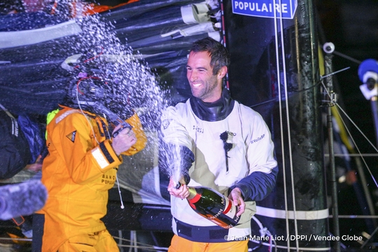 Finish arrival of Armel Le Cleac'h (FRA), skipper Banque Populaire VIII, winner of the sailing circumnavigation solo race Vendee Globe, in 74d 3h 35min 46sec, celebration with Mumm champagne at pontoon of Les Sables d'Olonne, France, on January 19th, 2017 - Photo Jean Marie Liot / DPPI / Vendee Globe Arrivée de Armel Le Cleac'h (FRA), skipper Banque Populaire VIII, vainqueur du Vendee Globe en 74j 3h 35min 46sec, aux Sables d'Olonne, France, le 19 Janvier 2017 - Photo Jean Marie Liot / DPPI / Vendee Globe