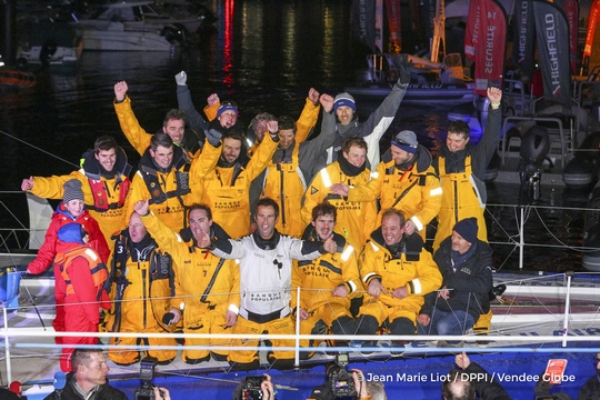 Finish arrival of Armel Le Cleac'h (FRA), skipper Banque Populaire VIII, winner of the sailing circumnavigation solo race Vendee Globe, in 74d 3h 35min 46sec, in Les Sables d'Olonne, France, on January 19th, 2017 - Photo Jean Marie Liot / DPPI / Vendee Globe Arrivée de Armel Le Cleac'h (FRA), skipper Banque Populaire VIII, vainqueur du Vendee Globe en 74j 3h 35min 46sec, aux Sables d'Olonne, France, le 19 Janvier 2017 - Photo Jean Marie Liot / DPPI / Vendee Globe