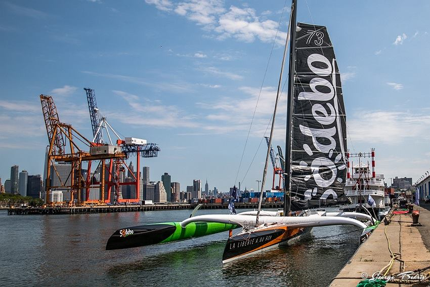 Maxi Trimaran Sodebo Ultim' prior to leaving NYC to set North Atlantic Record ( Photo © George Bekris )