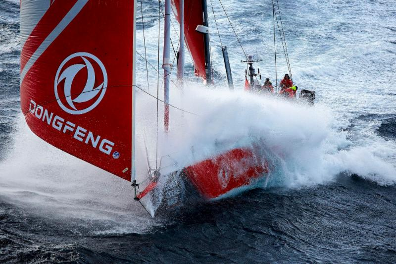 Skippered by Charles Caudrelier, the Chinese Dongfeng Race Team will compete in the Rolex Fastnet Race as Leg Zero of the Volvo Ocean Race © Benoit Stichelbaut